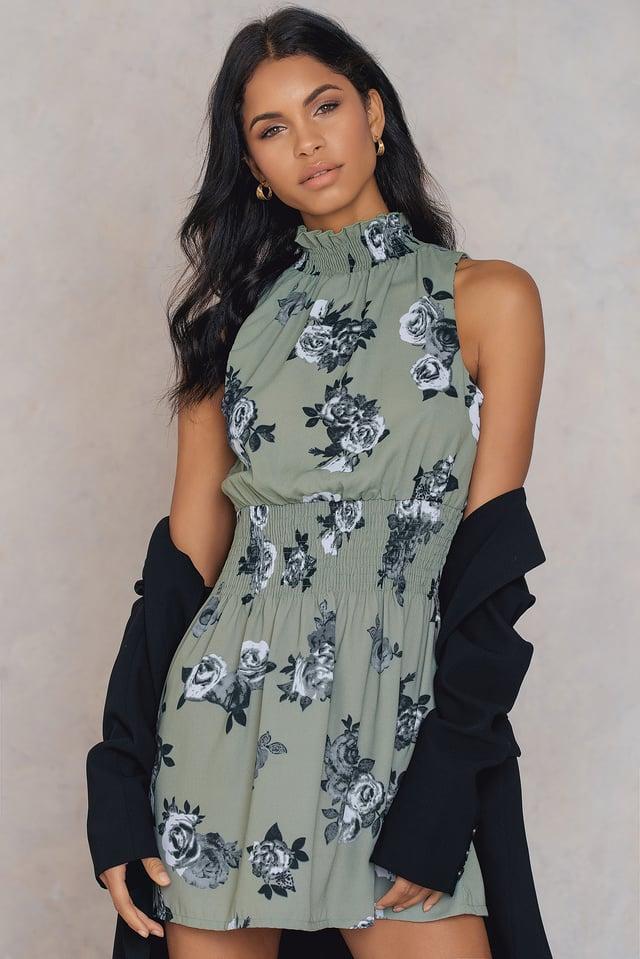 High Neck Smock Dress Green Print