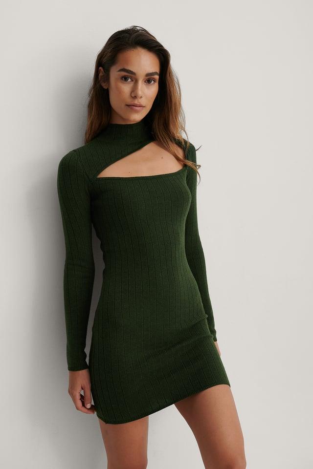 Army Green High Neck Cut Detail Dress