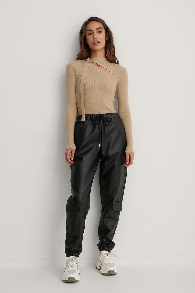 Black Lower Pockets PU Pants
