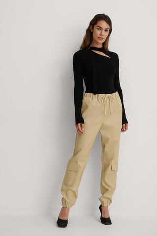 Beige Lower Pockets PU Pants