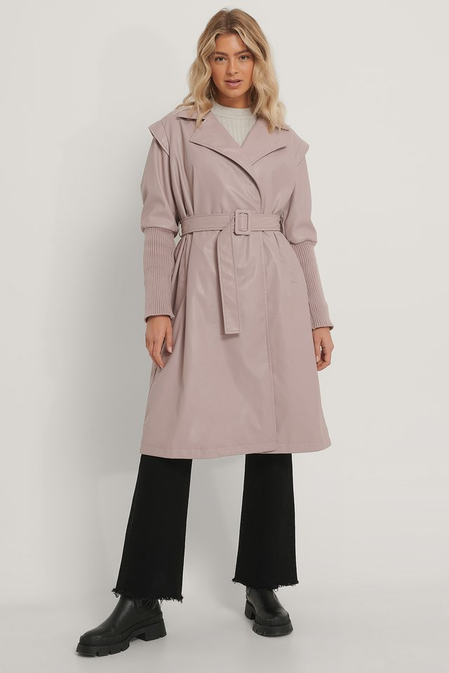 Old Pink Faux Leather Coat