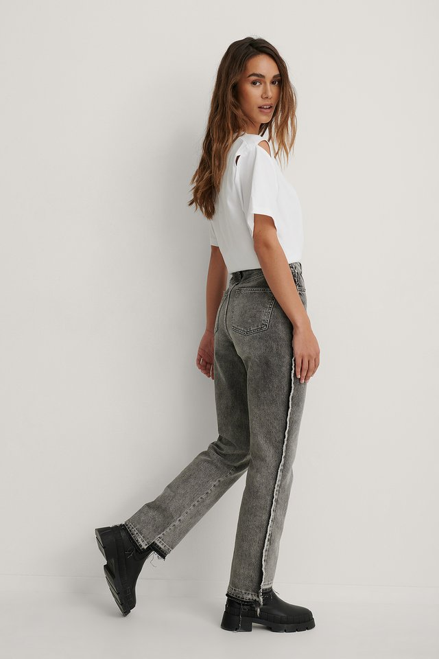 Grey Raw Edge Side Detail Jeans
