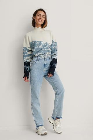 Light Blue Organic Raw Edge Side Detail Jeans