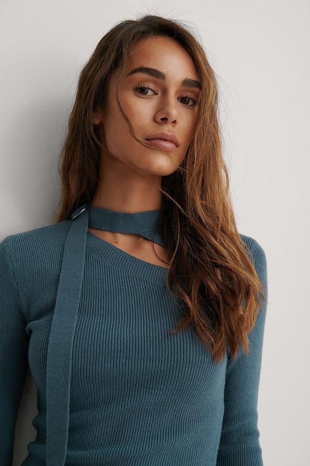 Blue Tie Neck Cut Detail Top
