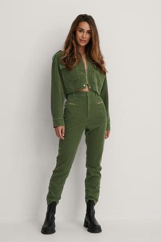 Army Green Zip Details Slim Pants