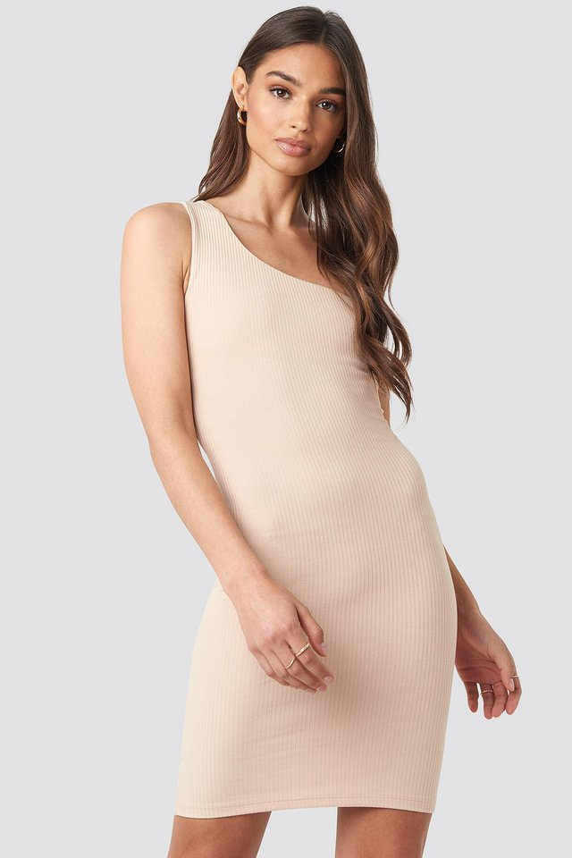 Beige One Shoulder Mini dress