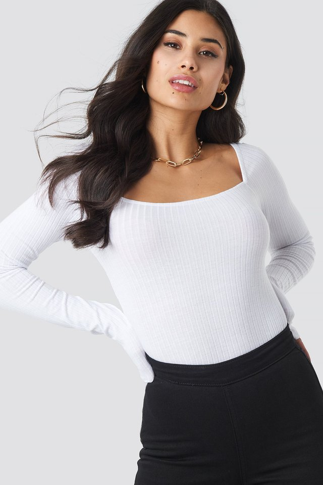 White Square Neck Top