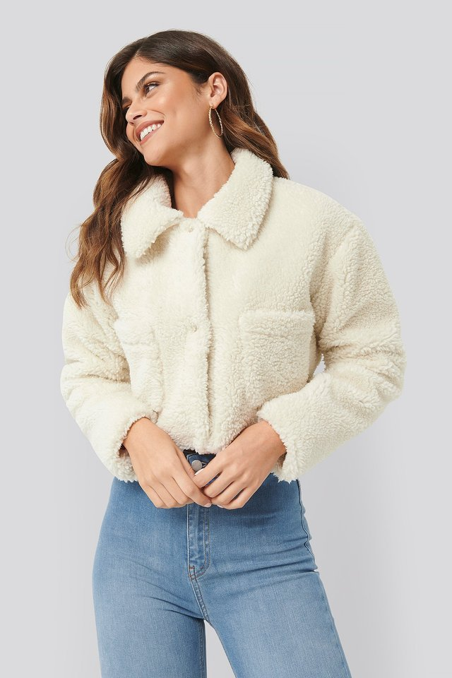 Cropped Teddy Jacket Offwhite