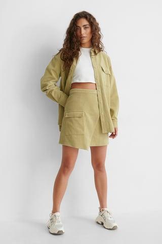 Beige/Khaki Corduroy Mini Skirt