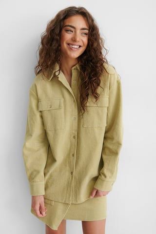 Beige/Khaki Corduroy Shirt Jacket