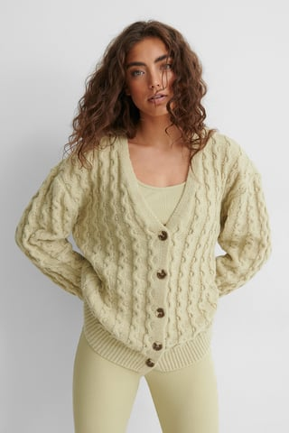 Beige/Khaki Oversized Knitted Cardigan