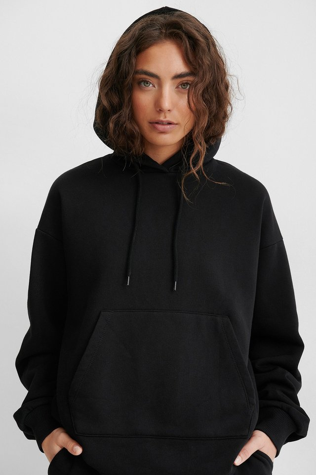 Stone Washed Oversized Hoodie Black