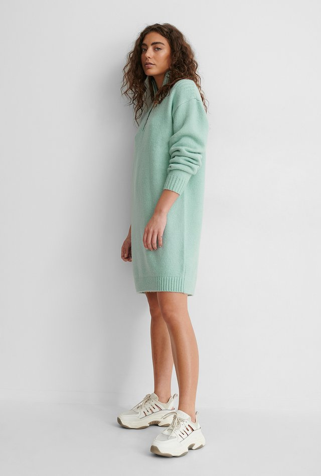 Zip Detail Knitted Dress Cloud