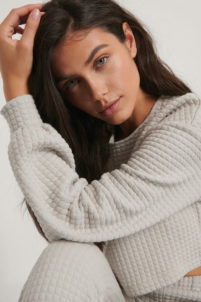 Structured Cropped Sweater Light Grey