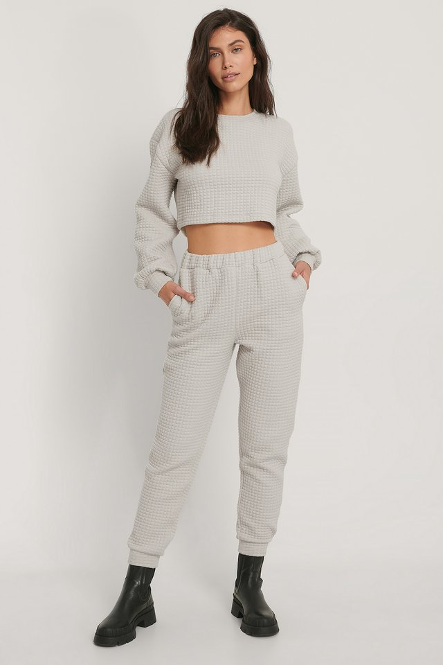 Structured Sweatpants Light Grey