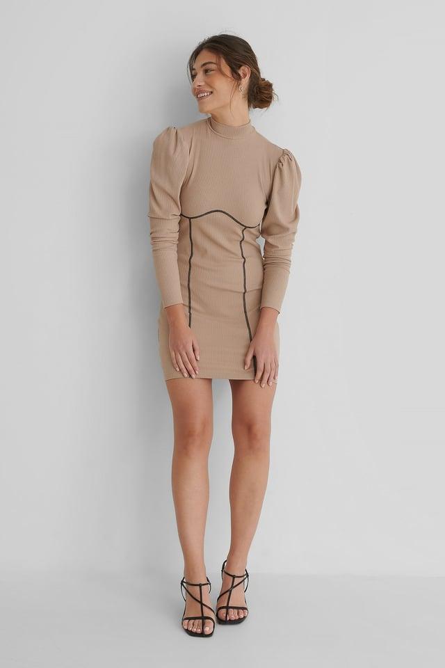 Puffy Sleeve Seam Detail Dress Beige