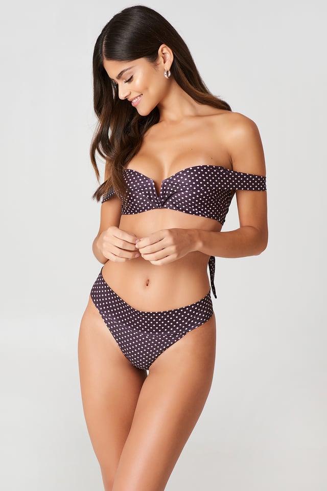 Folded Bikini Panty Pink Dot Print
