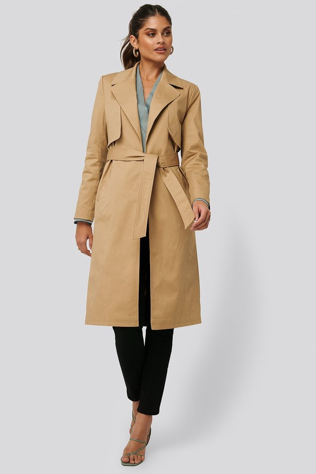 Detailed Coat Light Beige
