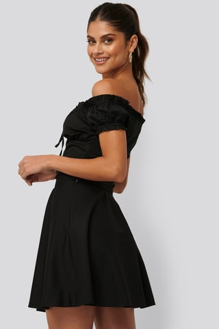 Black Flowy Mini Skirt