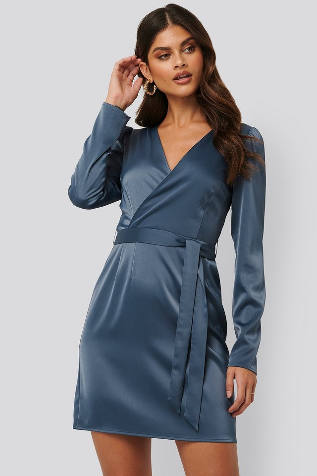 Satin-Wickelkleid Blue
