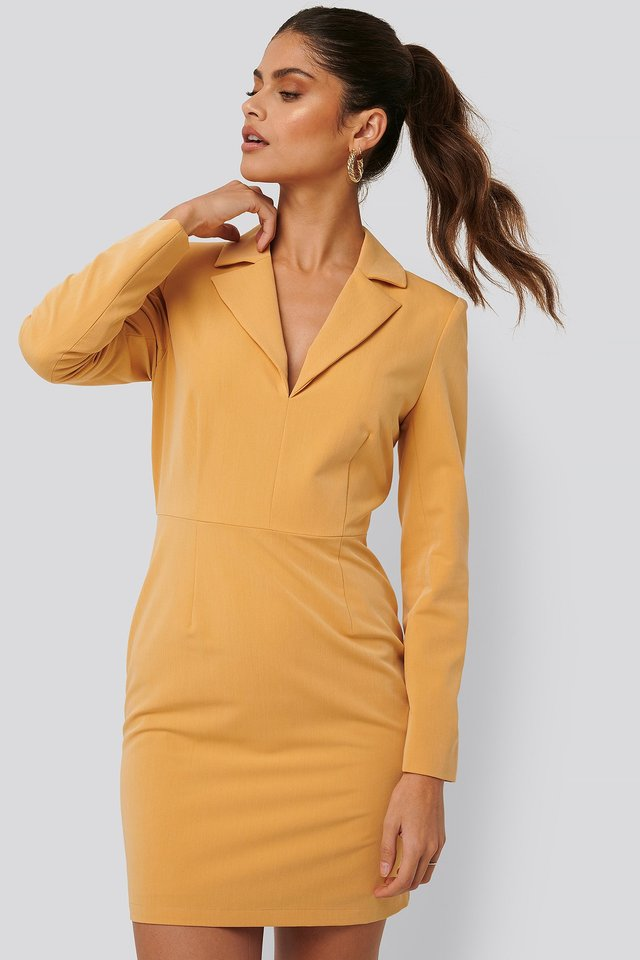 Sharp Suit Dress Yellow