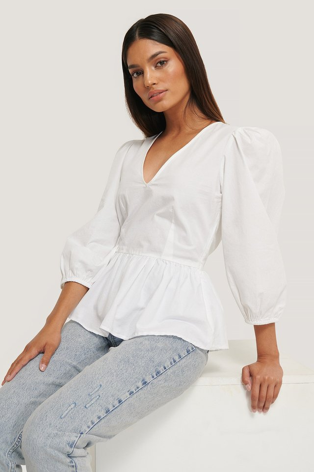 3/4 Balloon Sleeve Blouse White
