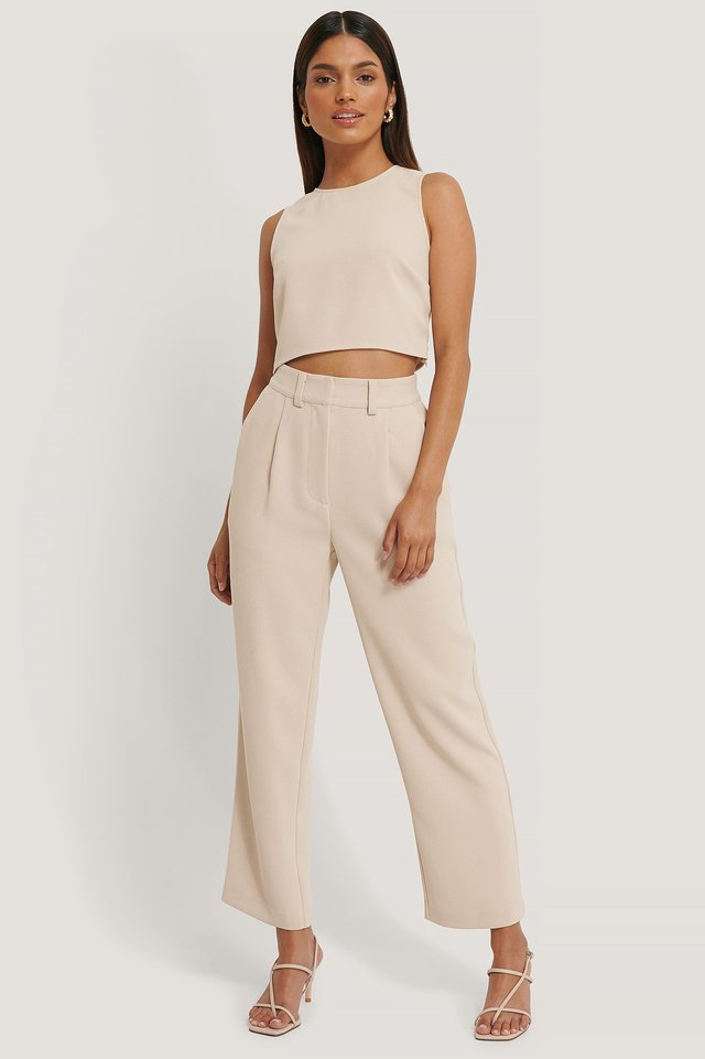 Beige High Waist Suit Pants
