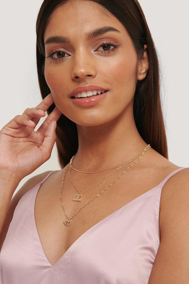Layered Eye Necklace Gold