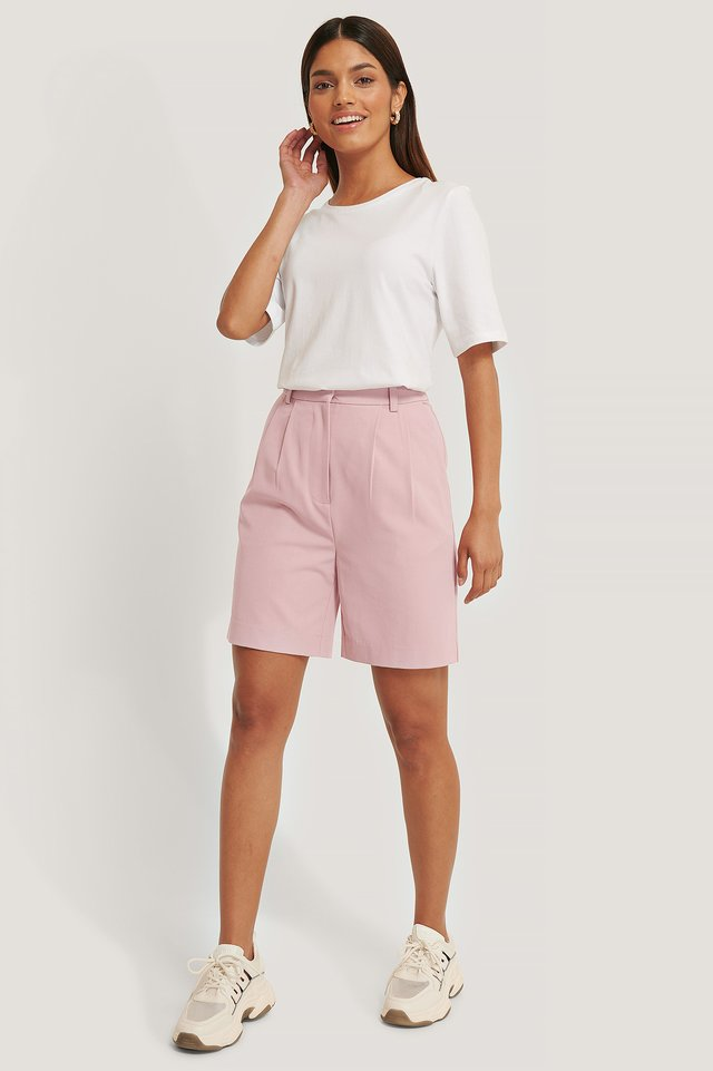 Blush Loose Fit Suit Shorts