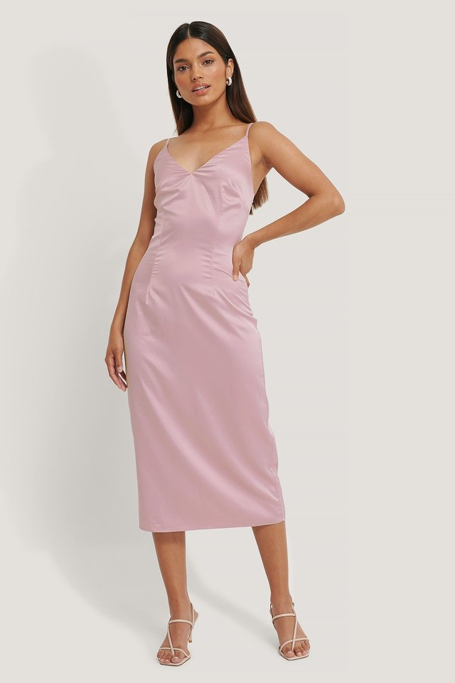 V-Neck Slip Dress Blush