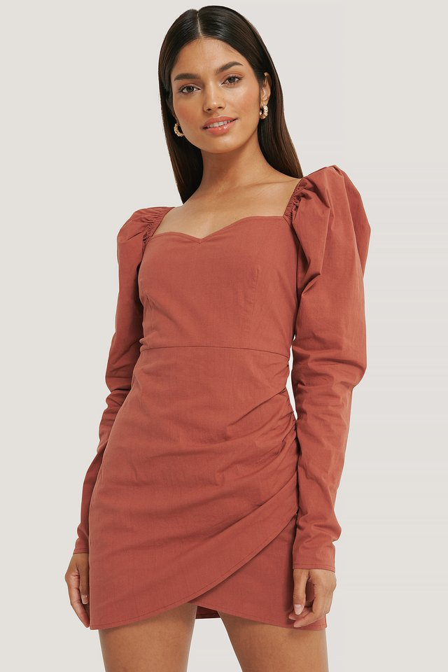 Volume Sleeve Wrap Mini Dress Redwood