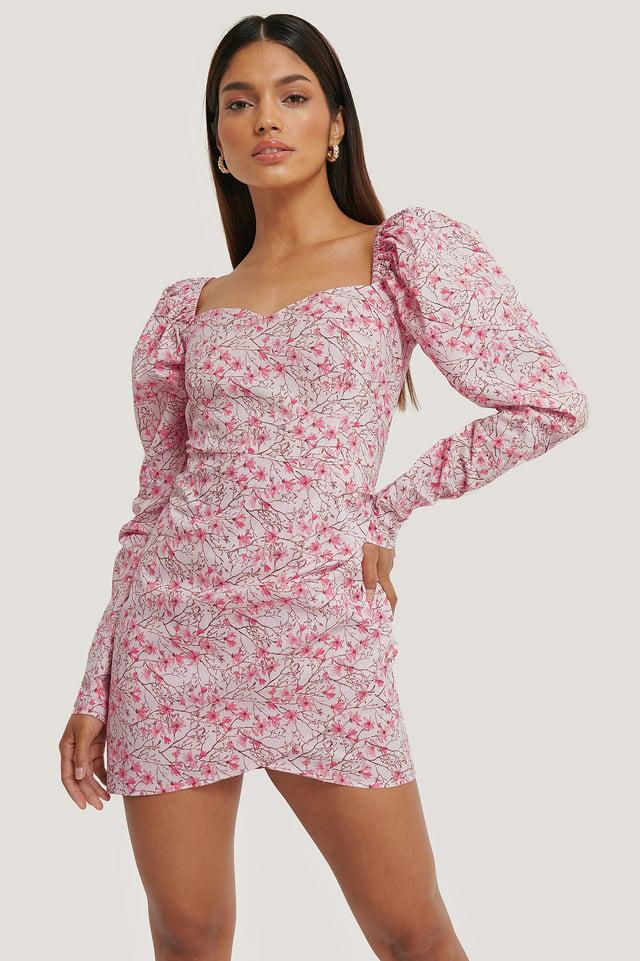 Flower Pink Volume Sleeve Wrap Mini Dress