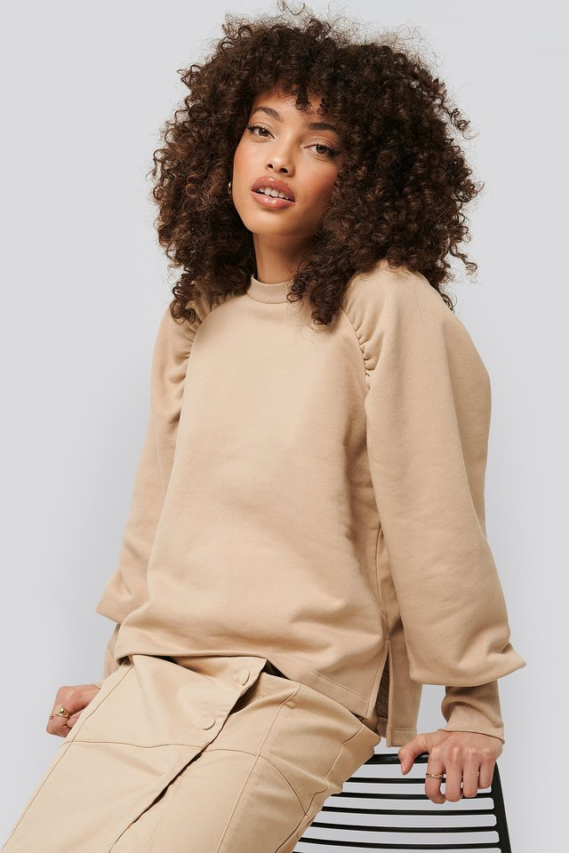 Gathered Sweatshirt Beige