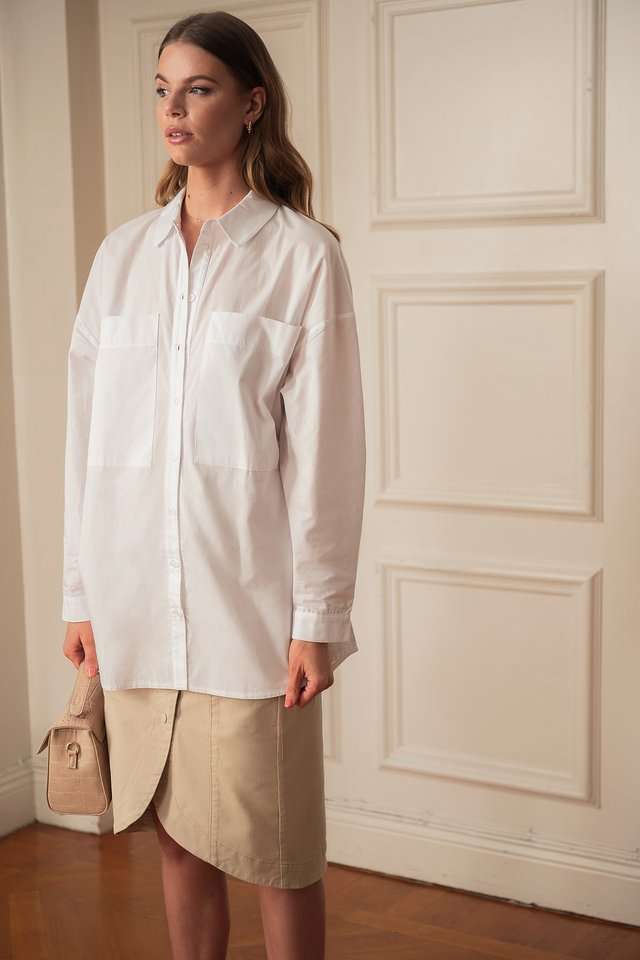 Oversized Patch Pocket Shirt White