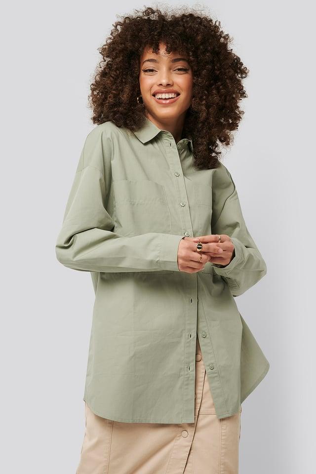 Oversized Patch Pocket Shirt Green