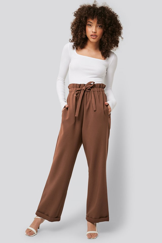 Paperbag Tapered Pants Brown