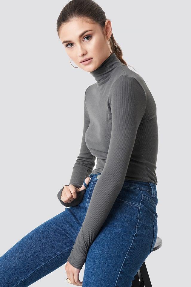 Dark Grey Long Sleeve Polo Top