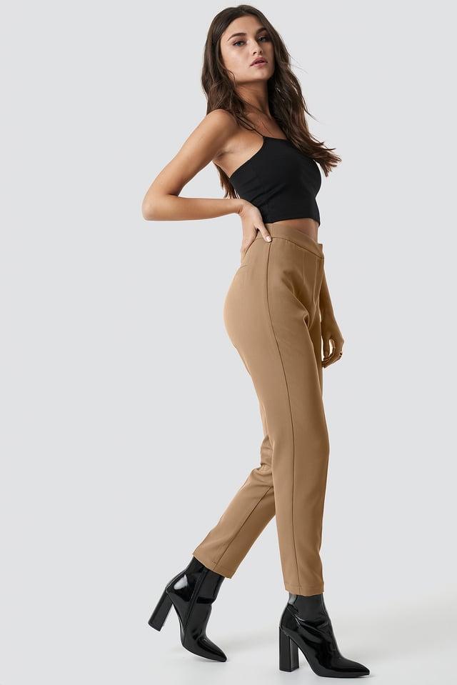 Tailored Slim Suit Pants Brown
