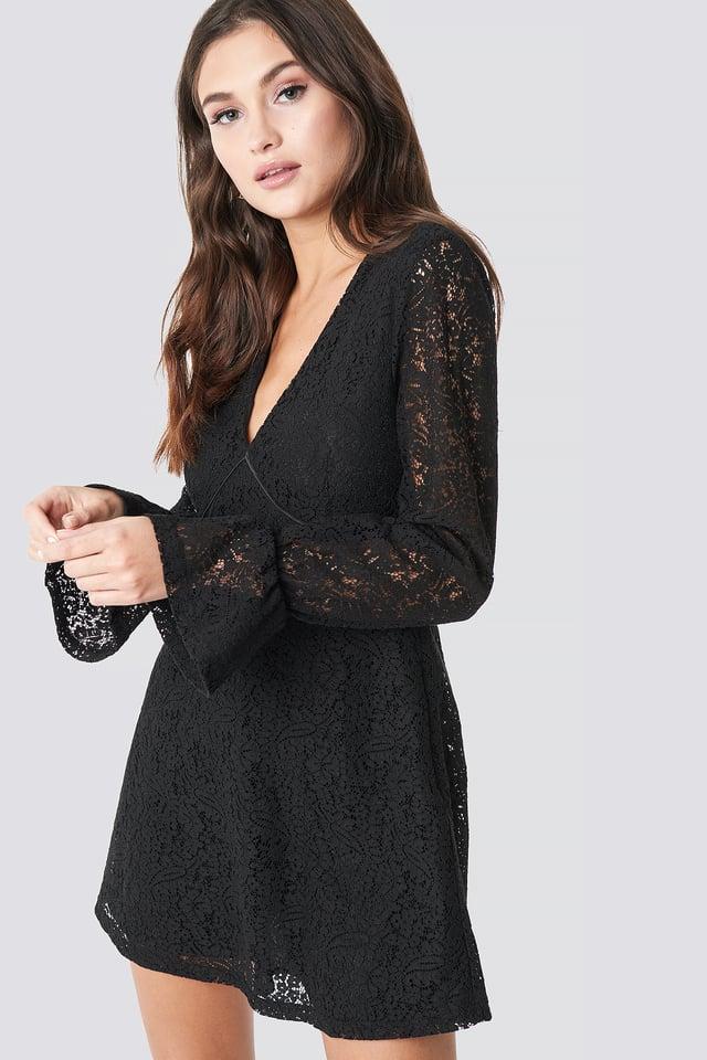 V-Neck Lace Dress Black