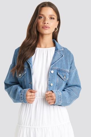 Light Blue Cropped Raw Edge Denim Jacket