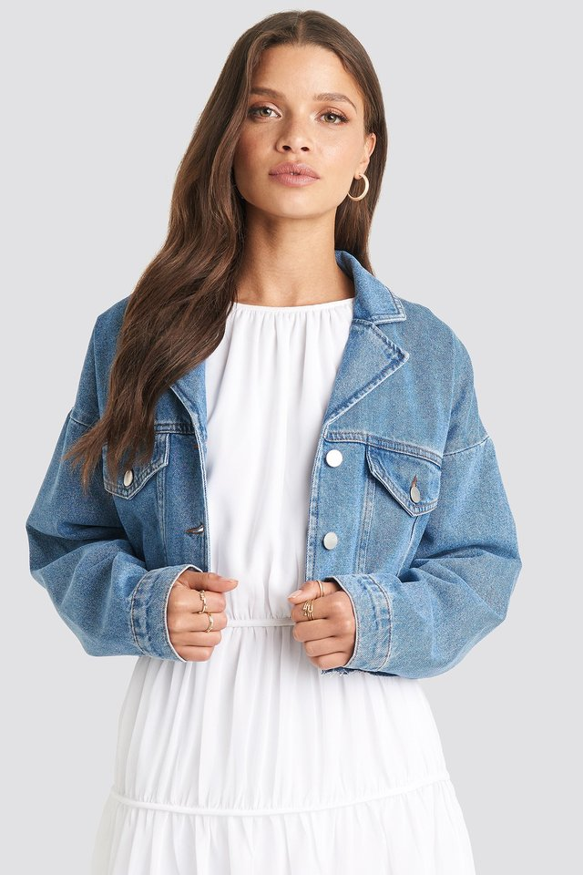 Cropped Raw Edge Denim Jacket Light Blue