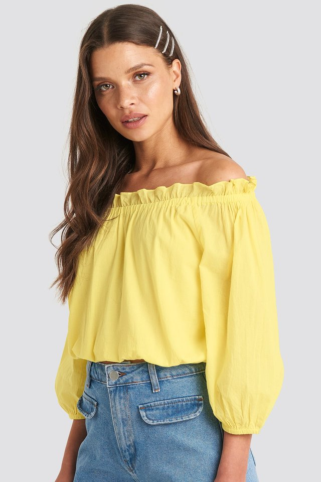 Off Shoulder Puffy Sleeve Cropped Top Bright Yellow