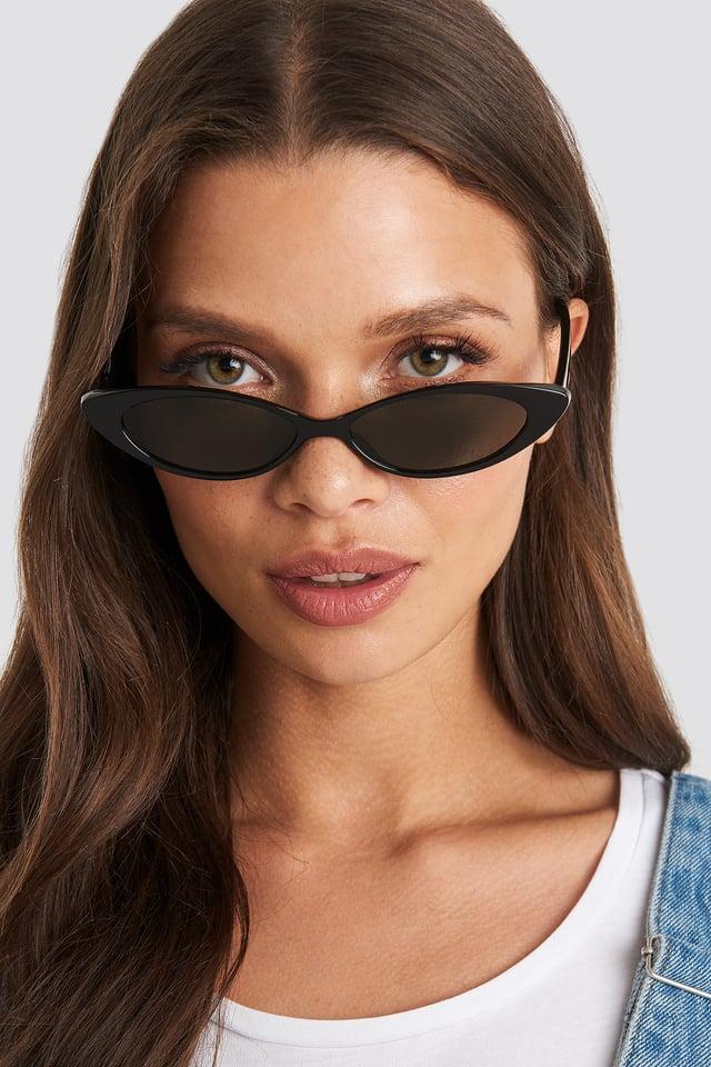 Slim Eye Cat Sunglasses Black