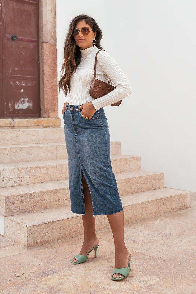 Midi Denim Skirt Blue Denim