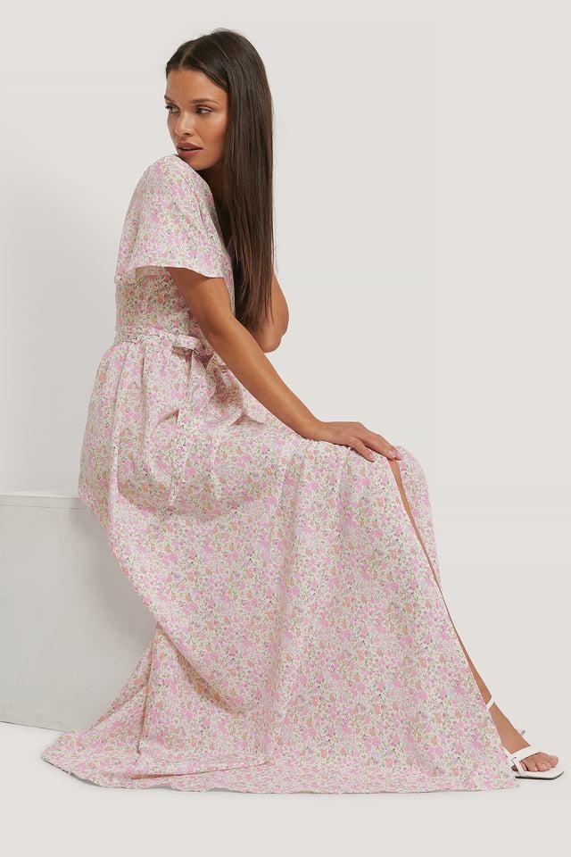 Vestido Maxi De Gasa Pink Floral