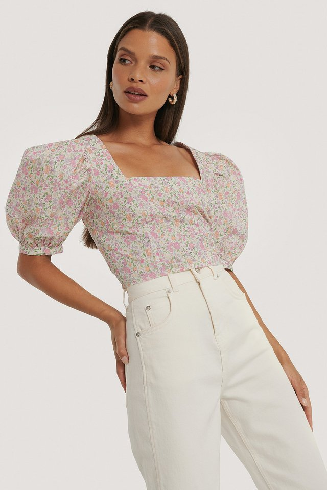 Square Neck Puff Sleeve Top Pink Floral