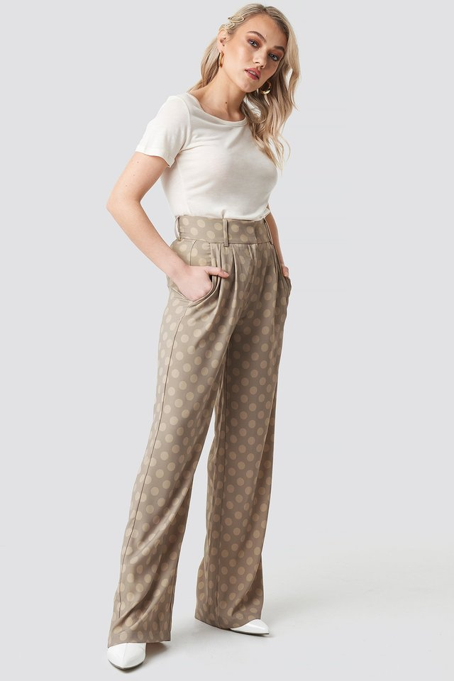 Spotted Wide Leg Trousers Beige