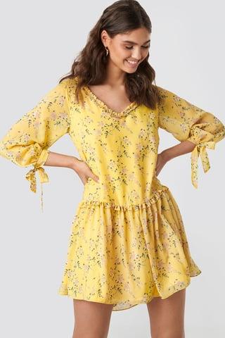 Yellow Flower Ruffle V Neck Mini Dress