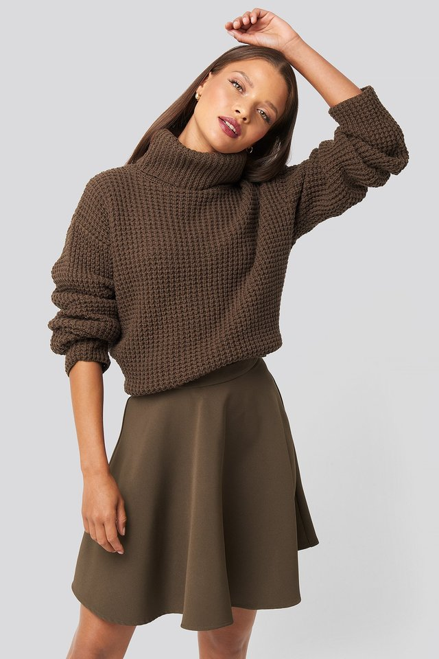 Circle Mini Skirt Brown