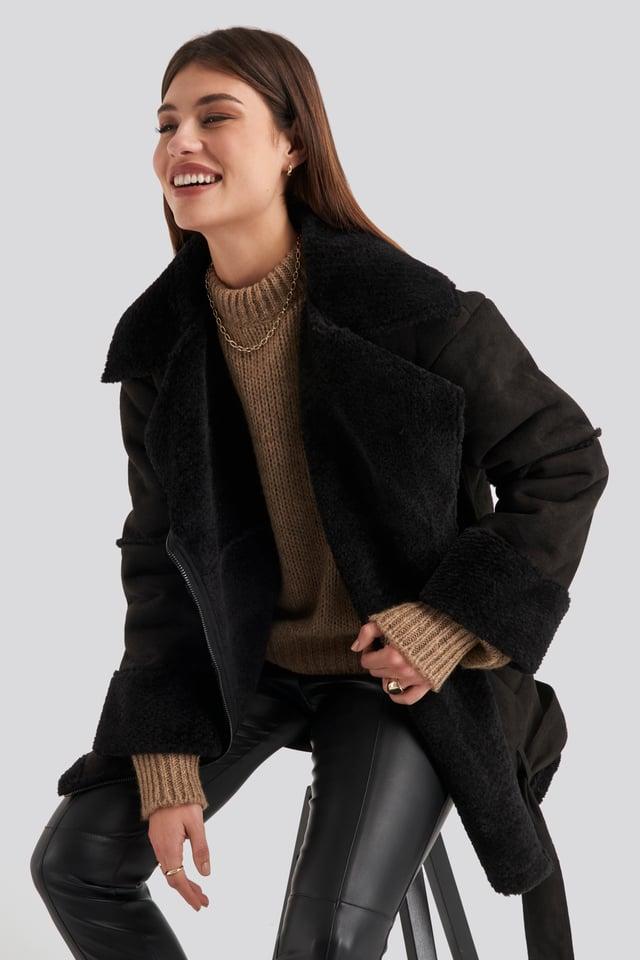 Belted Faux Fur Aviator Jacket Black